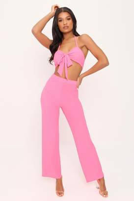76a308479e4d I SAW IT FIRST Neon Pink Halterneck Crop Top And Wide Leg Trouser Co-Ord