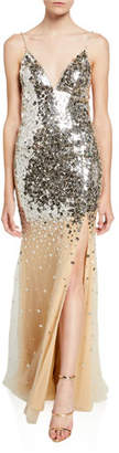 Jovani V-Neck Mirror Sequined Spaghetti-Strap Gown
