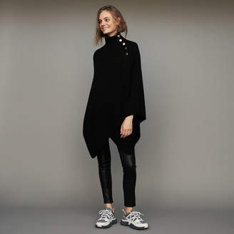Maje Funnel collar poncho in wool blend