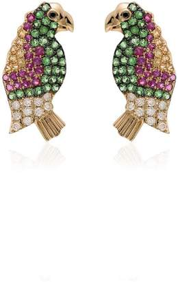 Leon Yvonne multicoloured parrot sapphire and gold earrings