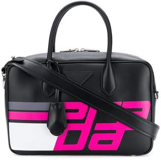 Prada logo print top handle bag