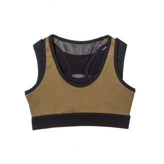 Okayla - Olive & Black Double Layer Branded Sports Bra