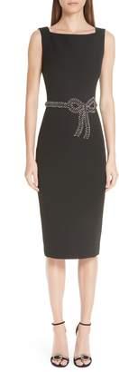 Badgley Mischka Platinum Beaded Bow Sheath Dress
