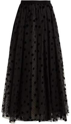 Erdem Lindle Flocked Polka Dot Tulle Skirt - Womens - Black