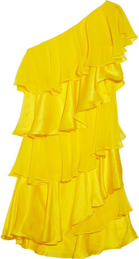 Halston Heritage Tiered silk-chiffon and satin dress