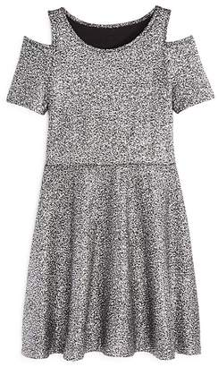 Aqua Girls' Metallic-Dotted Cold-Shoulder Dress, Big Kid - 100% Exclusive