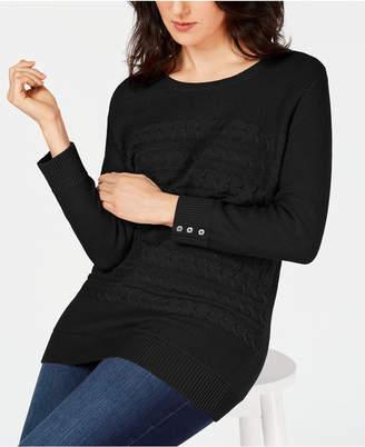 Karen Scott Petite Cable-Knit Button-Detail Sweater