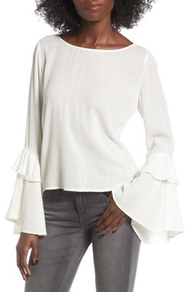 Women's Sun & Shadow Ruffle Bell Sleeve Blouse $49 thestylecure.com
