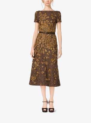 Michael Kors Feather-Embroidered Tweed Wool-Boucle Dress