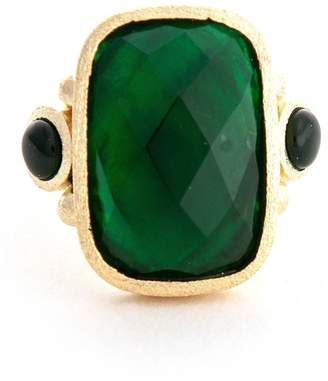 Rivka Friedman Faceted Emerald Crystal & Mother of Pearl Doublet Rectangle Ring