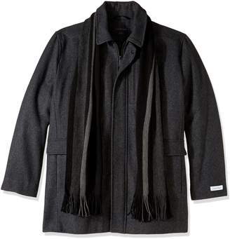 Calvin Klein Men's Big and Tall Wool Scarf Coat