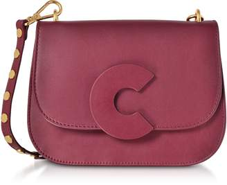 Coccinelle Craquante Rock Grape Leather and Suede Medium Shoulder Bag w/Studded Shoulder Strap