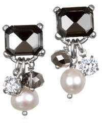 Badgley Mischka 6-7mm White Oval Pearl and Crystal Drop Earrings