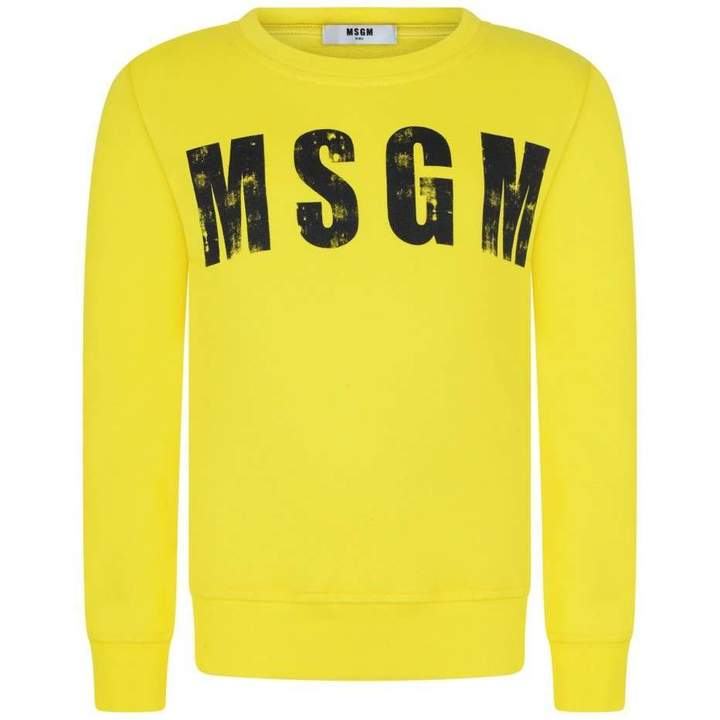 MSGMBoys Yellow Logo Print Sweater