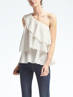 Limited Edition Tiered Eyelet One-Shoulder Top $118 thestylecure.com