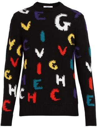 Givenchy Logo Letters Intarsia Knit Wool Sweater - Mens - Multi