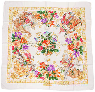 One Kings Lane Vintage Gucci Floral Gold Silk Scarf - Vintage Lux