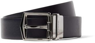 Burberry 3.5cm James Reversible Navy And Black Cross-grain Leather Belt