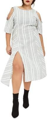 ELVI The Masago Stripe Cold Shoulder Dress
