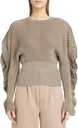 Chloé Flutter Sleeve Metallic Silk Blend Sweater