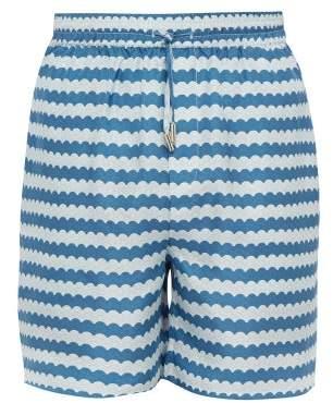 All At Sea - Wave Print Silk Satin Pyjama Shorts - Mens - Blue