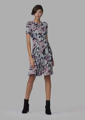 Giorgio Armani Mulberry Silk Dress With Pleated Skirt