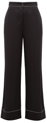 Burberry Crystal Trimmed Wide Leg Silk Trousers - Womens - Black