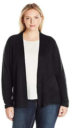 Sag Harbor Women's Plus Size Open Flyaway Cashmerlon Cardigan Sweater with A-line Hem