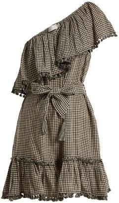 Zimmermann Paradiso gingham linen-blend mini dress