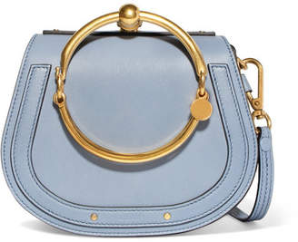 Chloé Nile Bracelet Small Textured-leather And Suede Shoulder Bag - Blue