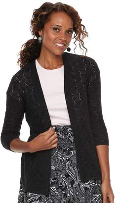 Croft & Barrow Women's Pointelle Open Front Cardigan