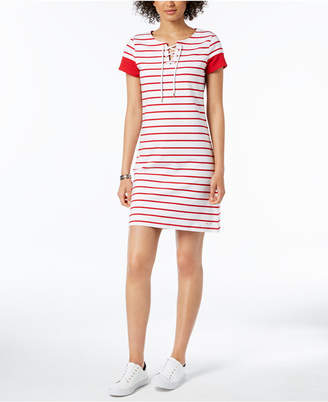 Tommy Hilfiger Striped Lace-Up Dress, Created for Macy's