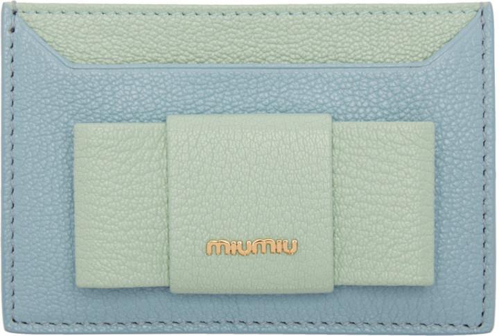 Miu MiuMiu Miu Blue & Green Bow Cardholder