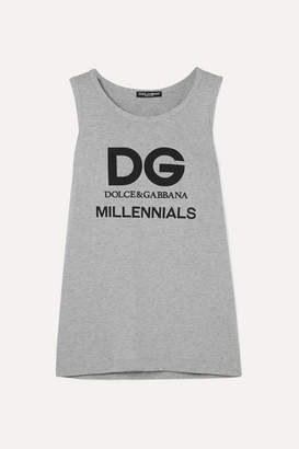 Dolce & Gabbana Printed Cotton-jersey Tank - Gray