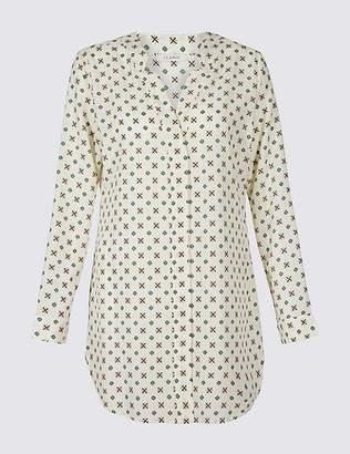 Marks and Spencer Geometric Print Longline Long Sleeve Shirt