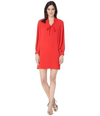 CeCe Moss Crepe Ruffled Collared Dress