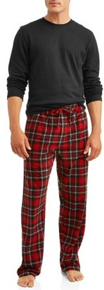 Hanes Men's Thermal Waffle Crew & Fleece Plaid Pant Xtemp Set