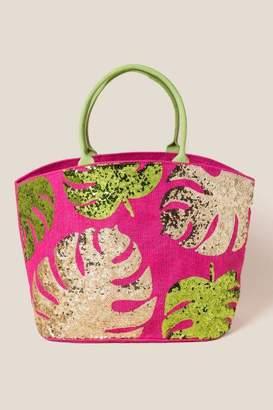 francesca's Bri Sequin Leaves Tote - Pink