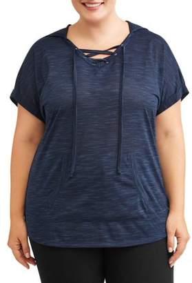 Terra & Sky Women's Plus Short Sleeve Dolman Hoodie