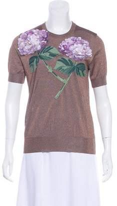 Dolce & Gabbana Hydrangea Metallic T-Shirt w/ Tags