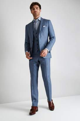 Moss Bros Tailored Fit Mid Blue Linen Jacket