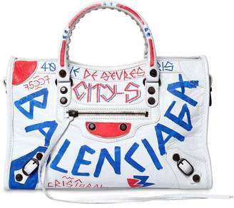 Balenciaga Small City Graffiti Leather Bag