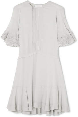 Chloé Ruffled Crepe Mini Dress - Gray