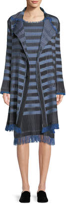 Issey Miyake Button-Front Striped Plisse Coat