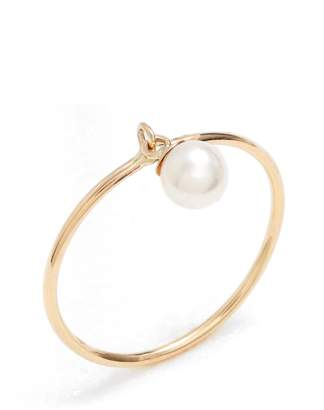 Poppy Finch Dangling Pearl Charm Ring