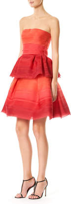 Carolina Herrera Strapless Pleated Ombre Chiffon Cocktail Dress, Red Pattern