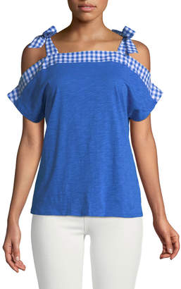 Neiman Marcus Cold-Shoulder GIngham-Bow Jersey Tee