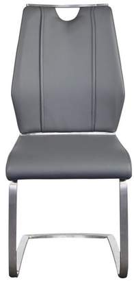 Euro Style Lexington Side Chair, Gray/Brushed Stainless Steel