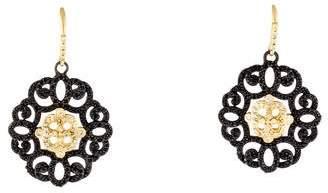Old World Diamond-Accented Sapphire Filigree Drop Earrings
