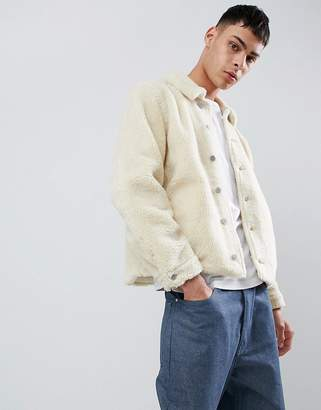 Asos DESIGN Borg Worker Jacket in Ecru